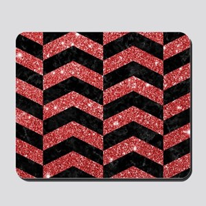 CHEVRON2 BLACK MARBLE & RED GLITTER Mousepad