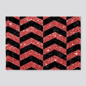 CHEVRON2 BLACK MARBLE & RED GLITTER 5'x7'Area Rug