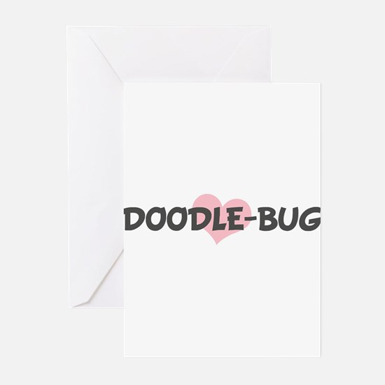 DOODLE-BUG (pink heart) Greeting Cards (Pk of 10)