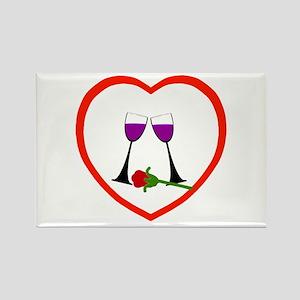 Wine & Rose Heart Rectangle Magnet (10 pack)