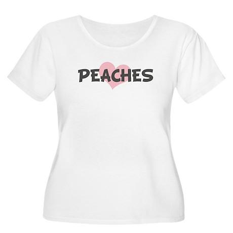 PEACHES (pink heart) Women's Plus Size Scoop Neck