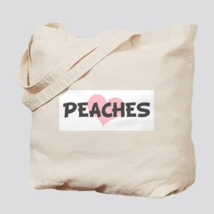 PEACHES (pink heart) Tote Bag