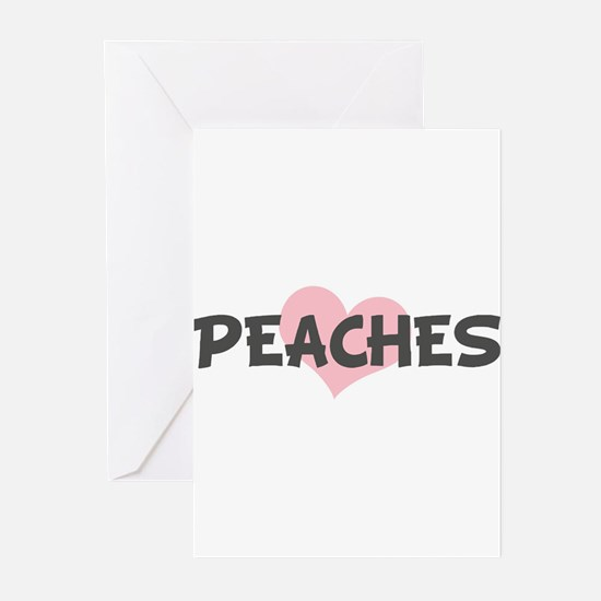 PEACHES (pink heart) Greeting Cards (Pk of 10)