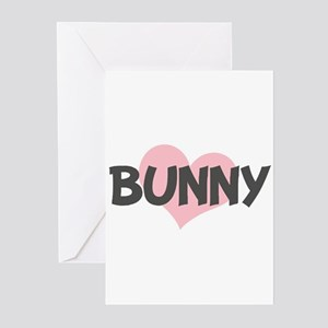 BUNNY (pink heart) Greeting Cards (Pk of 10)