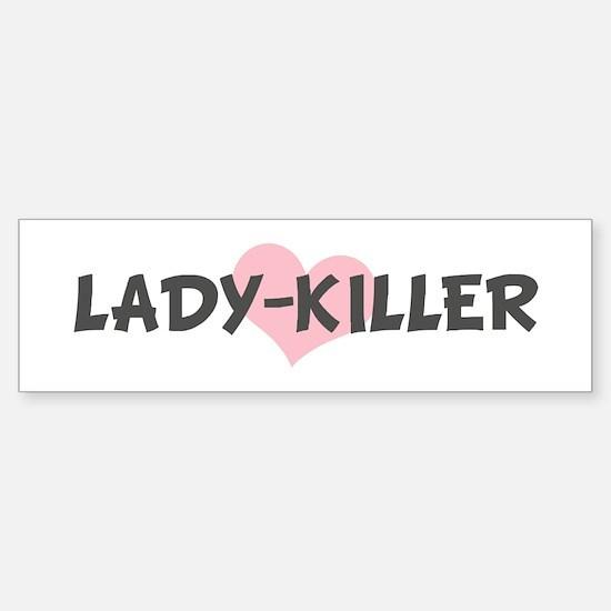 LADY-KILLER (pink heart) Bumper Car Car Sticker