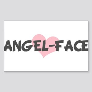 ANGEL-FACE (pink heart) Rectangle Sticker