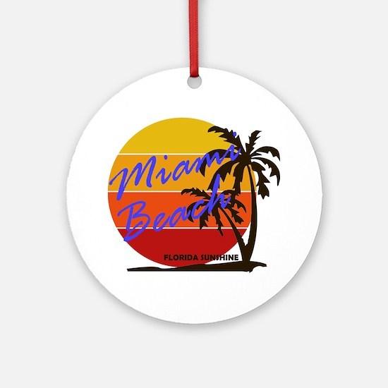 Cute Miami Round Ornament