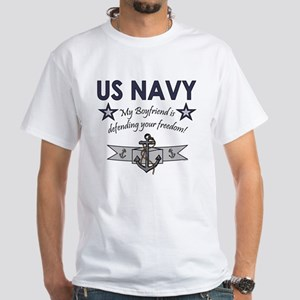 Navy Boyfriend Defending Free White T-Shirt