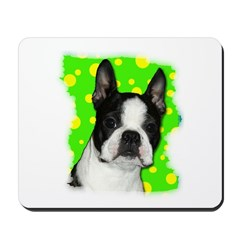 BOSTON TERRIER WITH BUBBLES Mousepad