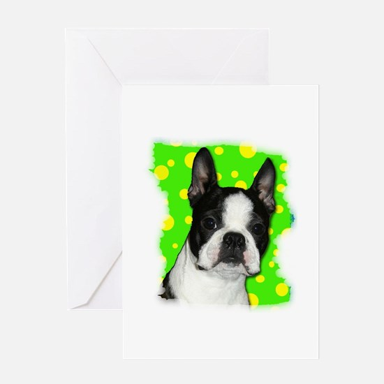 BOSTON TERRIER WITH BUBBLES Greeting Card