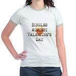 Singles Against Valentines Day Jr. Ringer T-Shirt