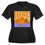HOTROD STYLE Women's Plus Size V-Neck Dark T-Shirt