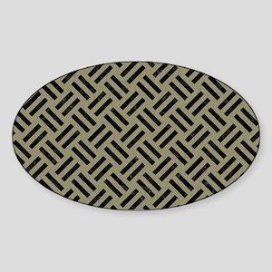 WOVEN2 BLACK MARBLE & KHAKI FABRIC Sticker (Oval)