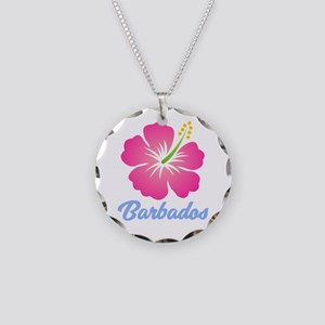 Barbados Flower Necklace Circle Charm