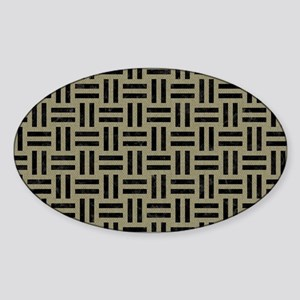 TRIANGLE3 BLACK MARBLE & KHAKI FABR Sticker (Oval)