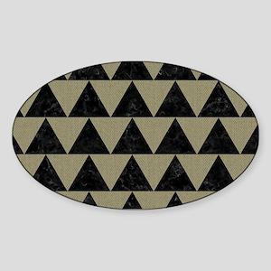 TRIANGLE2 BLACK MARBLE & KHAKI FABR Sticker (Oval)