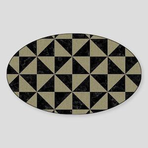 TRIANGLE1 BLACK MARBLE & KHAKI FABR Sticker (Oval)