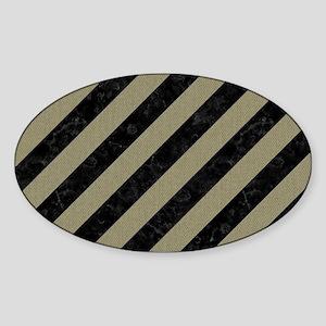 STRIPES3 BLACK MARBLE & KHAKI FABRI Sticker (Oval)
