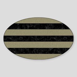 STRIPES2BLACK MARBLE & KHAKI FABRIC Sticker (Oval)