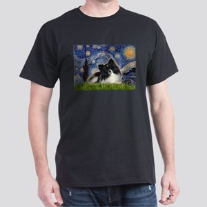 Starry Night / Pomeranian (b&w) Dark T-Shirt
