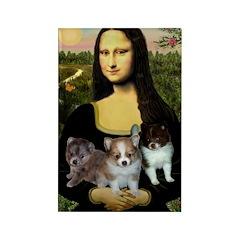Mona Lisa/Pomeranians Rectangle Magnet (10 pack)