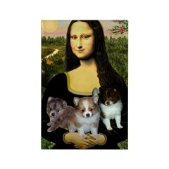 Mona Lisa/Pomeranians Rectangle Magnet