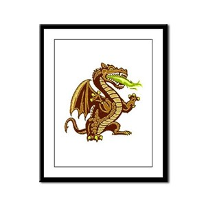 Draken Gold Framed Panel Print