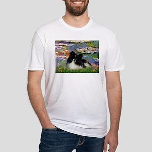 Lilies / Pomeranian (b&w) Fitted T-Shirt