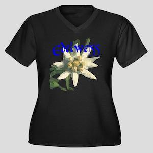 Edelweiss Flower Women's Plus Size V-Neck Dark T-S