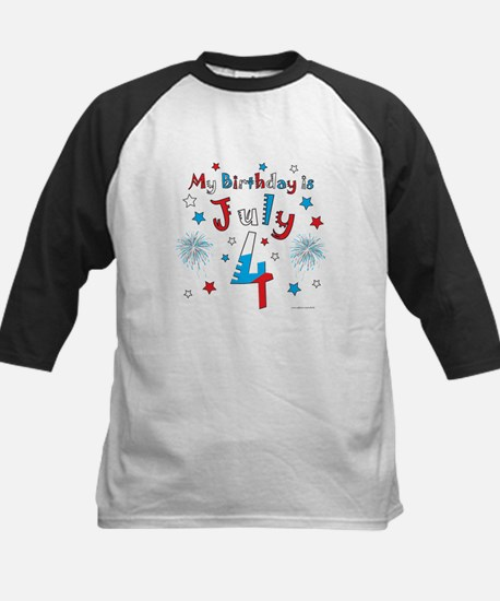 July 4th Birthday Red, White, Blue Kids Baseball J