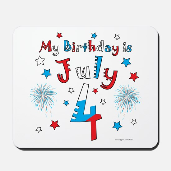 July 4th Birthday Red, White, Blue Mousepad