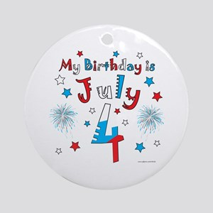 July 4th Birthday Red, White, Blue Ornament (Round