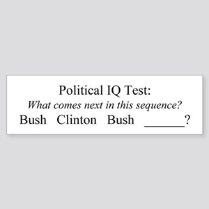 """""""Political IQ Test"""" Bumper Sticker"""