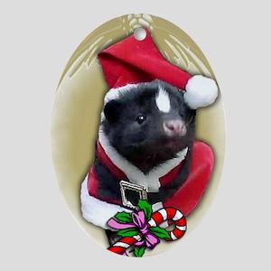 Santa Skunk Oval Ornament
