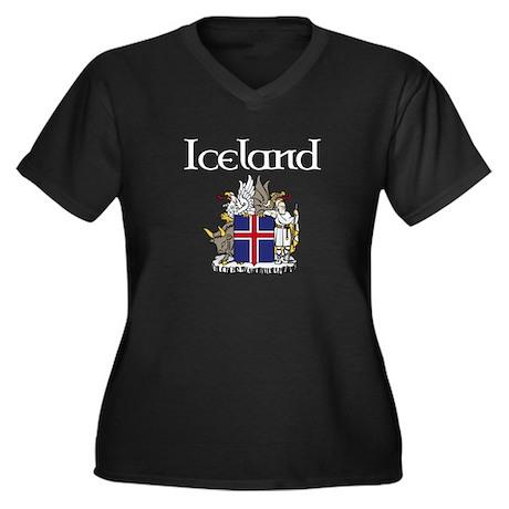 Iceland Crest Women's Plus Size V-Neck Dark T-Shir