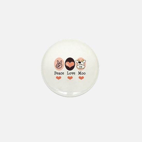 Peace Love Moo Cow Mini Button