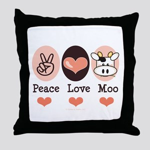 Peace Love Moo Cow Throw Pillow