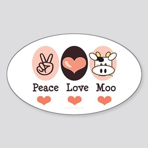 Peace Love Moo Cow Oval Sticker