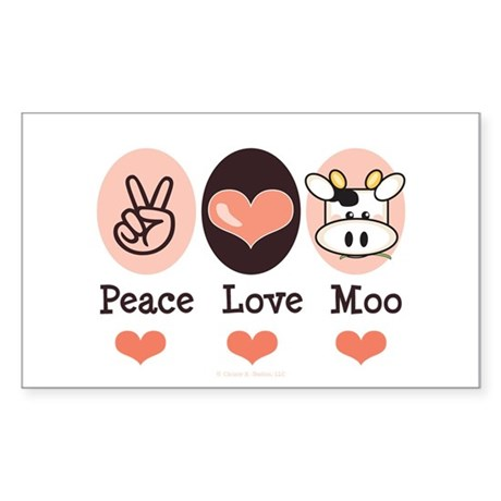 Peace Love Moo Cow Rectangle Sticker