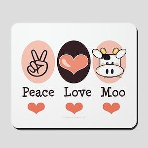 Peace Love Moo Cow Mousepad