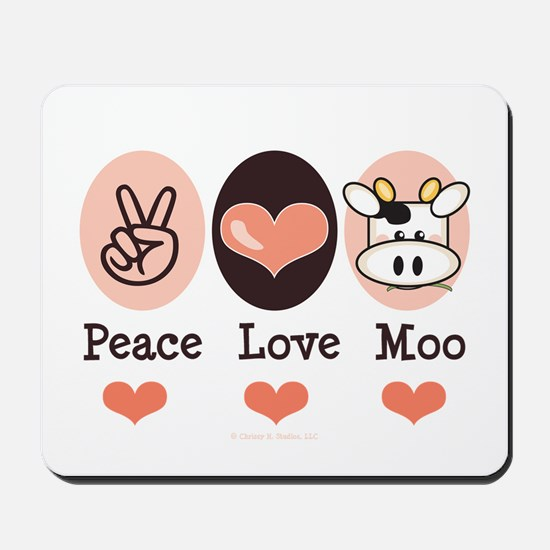 Peace Love Moo Cow Mousepad