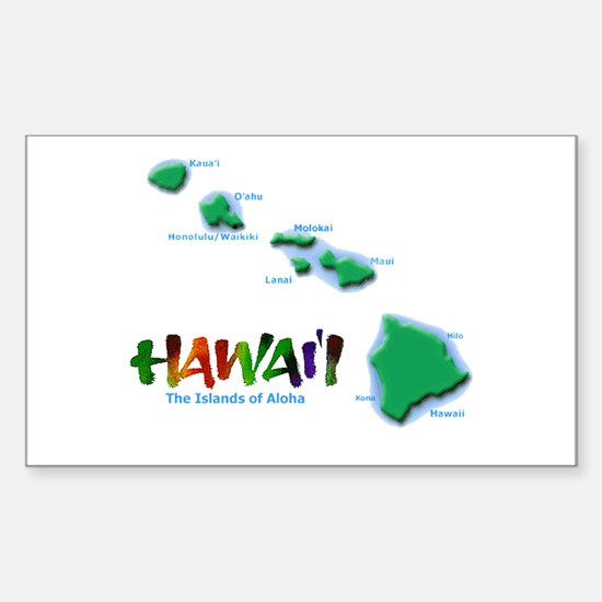 Hawaii Islands Rectangle Bumper Stickers