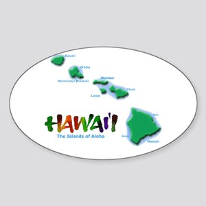 Hawaii Islands Oval Sticker