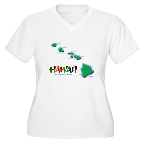 Hawaii Islands Women's Plus Size V-Neck T-Shirt