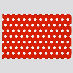 Red and White Polka Dots 4' x 6' Rug