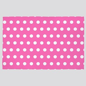 Pink And White Polka Dots 4' x 6' Rug