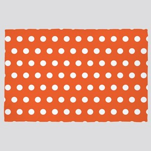 Orange And White Polka Dots 4' x 6' Rug