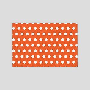 Orange And White Polka Dots 4' x 6' Rug