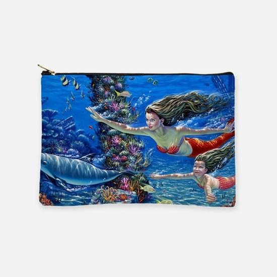 Mermaid And Her Daughter Swimming Makeup Bag