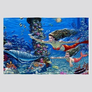 Mermaid And Her Daughter Swimming 4' x 6' Rug